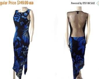 VALENTINES DAY SALE Vintage Vivienne Tam Mesh Evening Dress Fabulous Sheer Back designer dress 90s dress blue dress evening dress sheer dres