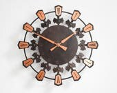 Modern wall clock, copper wall clock, copper home decor, mid-century clock, copper clock, starburst clock wall, starburst clock vintage