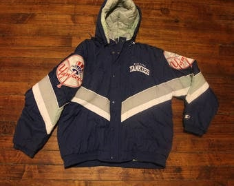 New York Yankees starter jacket vintage zip-up winter coat MLB baseball Large