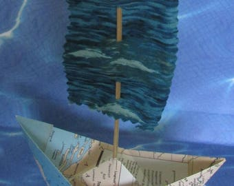 big paper sail boat with fabric flag sail sailing beach wedding cottage chic sail boat