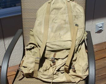 WWII US Army Rucksack Mountain Troop Backpack J.Q.D. 88B, w/ Tubular Frame