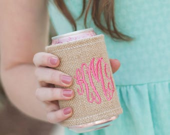 Personalized Drink Wrap, Monogram Can Cooler, Burlap Drink Wrap, Wedding Party Gifts, Personalized Beverage Wrap, Bridesmaid Gift