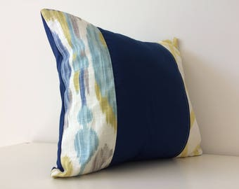 Modern Patchwork Pillow Cover, 16x16, Braemore Cushion Cover, Geometric, Ikat, Pattern Colour Block, Linen, Royal Sky Blues, Greens
