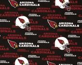 Arizona Cardinals Football, NFL Fabric, Cardinals Black, Cotton Broadcloth Fabric