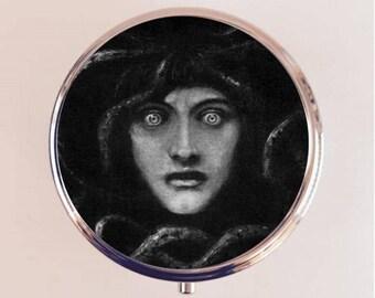 Medusa Pill Box Case Pillbox Holder Trinket Stash Box Franz Von Stuck Fine Dark Art Painting Snake Woman