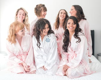 BRIDAL ROBE - Spa Robe - Silk Robe - Bridesmaids Gift - Bridal Party Robe - Dressing Gown - Kimono Robe - Satin Wedding Robe - Bride Robe