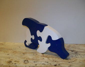 Handmade Handpainted Wooden Dolphin Puzzle Educational Toy 5 Piece