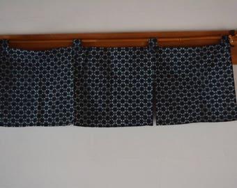 Noren doorway curtain, three panels, kasuri cotton, Japanese