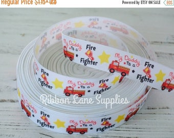 """50% OFF 7/8"""" Ribbon by the Yard-Daddy Fire Firetighter-First responder printed Grosgrain ribbon-supplies by Ribbon Lane Supplies"""