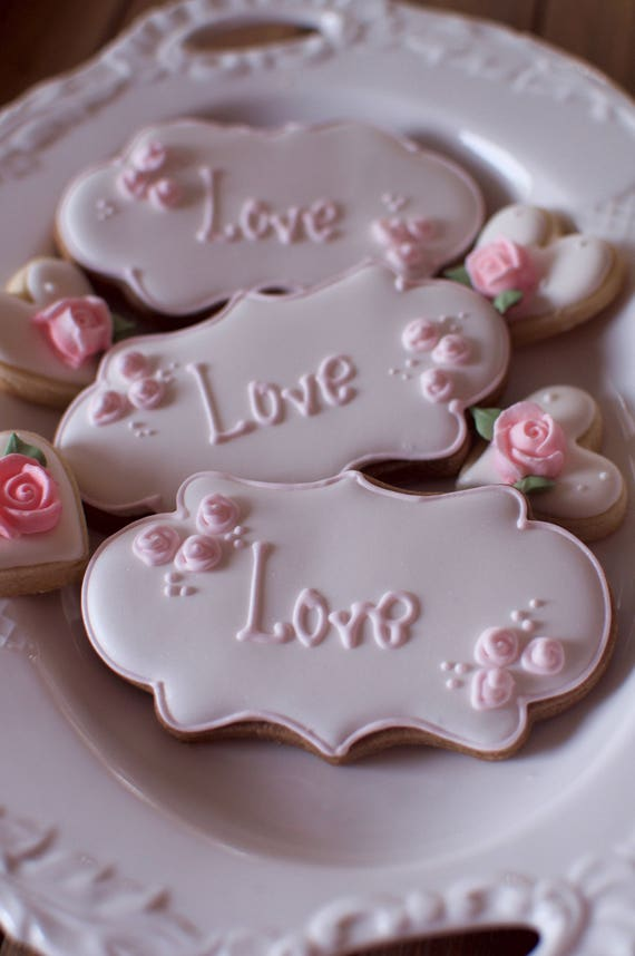 12 Name Plaque Cookies for Christening, Weddings, Showers, and Birthdays