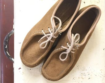 70s Wallabees, original vintage leather uppers, rubber soles, women's size 9 1/2 US