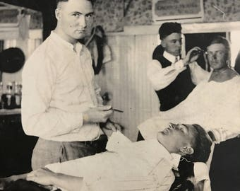 Shave and a Haircut Vintage Real Photo Postcard Occupational Barbershop Barber
