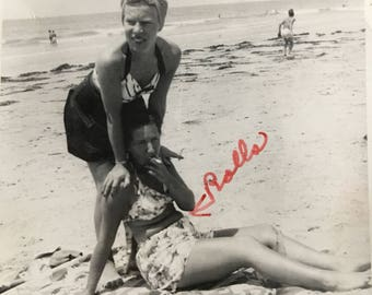 Belly Rolls Girlfriends at Beach Vintage Photo
