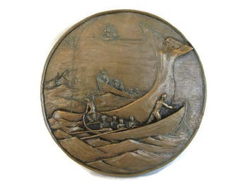 vintage bronze plaque Whaling Scene, nautical decor