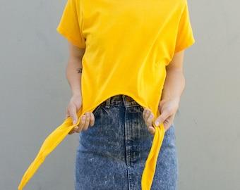 70s 80s yellow tie up shirt