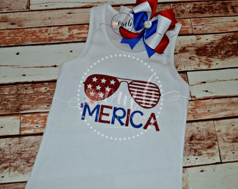 Merica 4th of July Themed Tank Top / Girl Tee Shirt / Girl Shirt / 4th of July Shirt / Patriotic Shirt / Fourth of July / Red / White / Blue