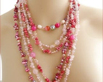Pink/fuchsia - Agate gemstone necklace, mother of Pearl and Crystal