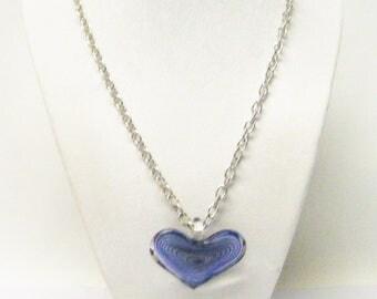 Purple & Silver Swirl Heart Shape Glass Pendant Necklace