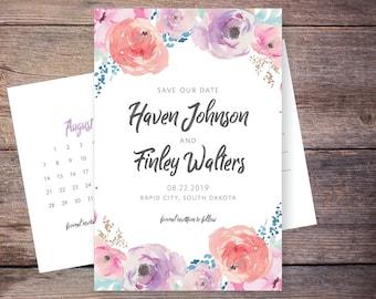 Floral Save the Date Invite, Flowers, Invitations, Calendar, Watercolor Flower, Card, Postcard, DIY, Printable Digital File – Haven