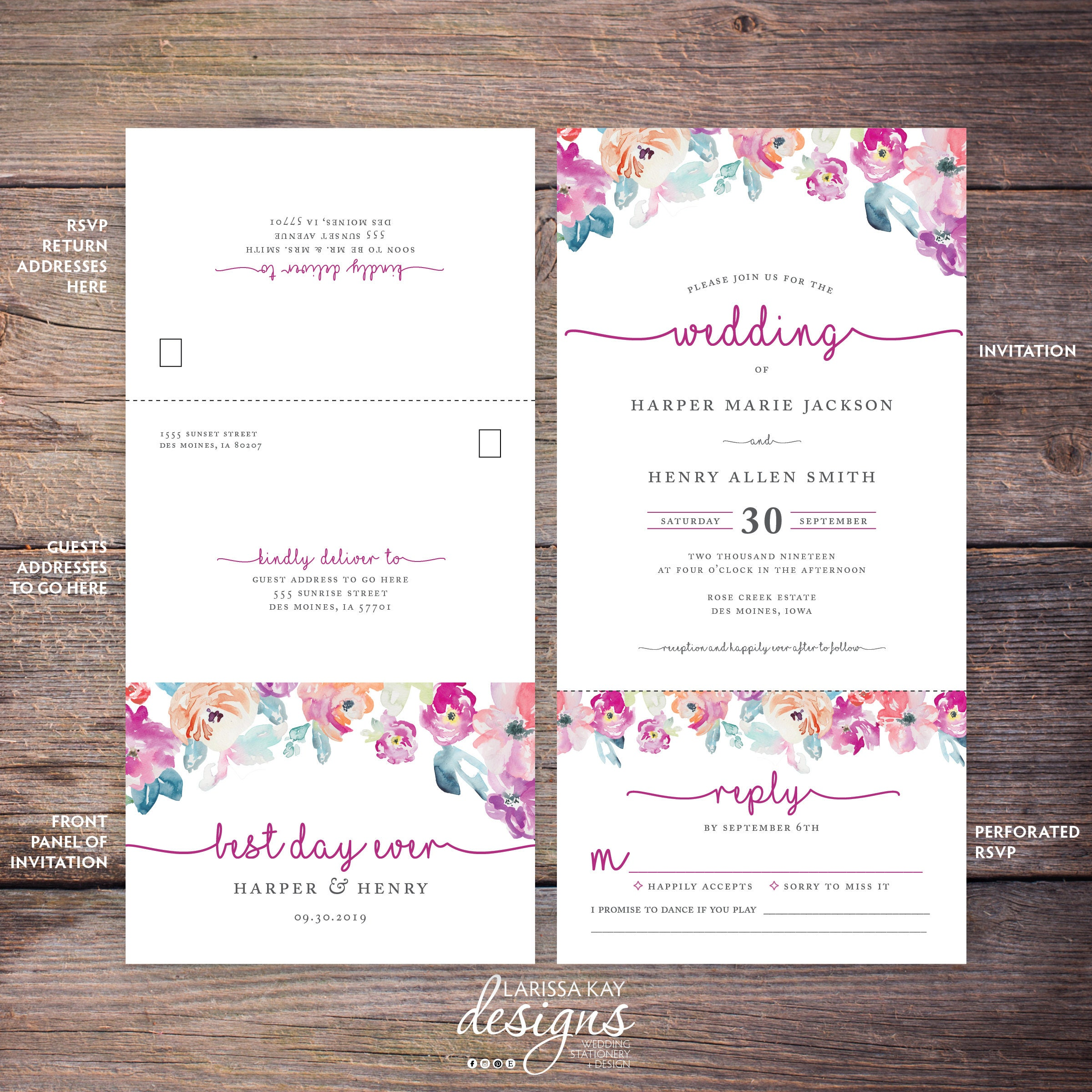 Seal and Send Wedding Invite, Flower, Florals, Watercolor, Seal N ...