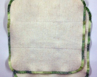 Two 8x8 hemp dishcloths - Anti-mildew, no-stink dish rag - large clean-up size - hemp & organic cotton - Choose the edge color