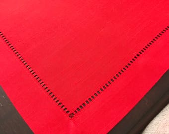 Red Placemats | RED Table | Shaby Chic Hemstitch | Christmas Placemats