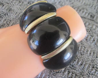 Mid Century Black Lucite Stretch Bangle Bracelet Wide Jewelry Gift Mother's Day Birthday