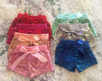 Toddler Infant Sequin Shorts Baby Shower Gift Baby Girl Fall Holiday First Birthday