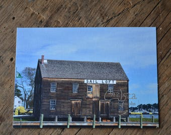 Sail loft, Salem, Massachusetts - flat card, post card