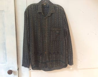 Mens Ikat Cotton Shirt - Made in Indonesia - Button Down - Front Patch Pocket - Ethnic - Long Sleeve