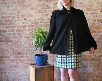 50% Off Wool Sale Vintage 40s Short Black Wool Swing Coat - Velvet Collar - Velvet Cuffs - Side Pockets Fully Lined