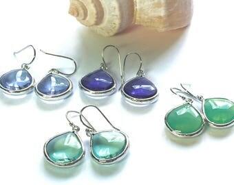 Colorful glass earrings - pale purple earrings, purple earrings, pale blue-green earrings, aqua green earrings