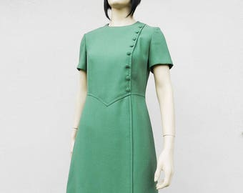 60s Mod Dress Green Short Sleeve Vintage 1960s Party Dress Size Medium Large M L