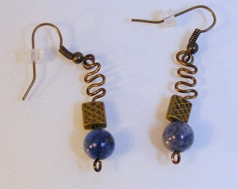 Medium Round Lapis Antique Brass Basketweave Earrings