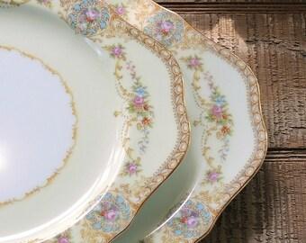 Noritake Coypel Square Salad Plates Set of 2 Bridesmaid Luncheon Housewarming Gift Ca. 1933