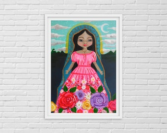 Guadalupe Painting, Our Lady, Virgin Mary, Lady of Guadalupe, Blessed Virgin Mary, Madonna, Virgin de Guadalupe, Religious Decor,