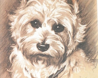 SALE WEST HIGHLAND Terrier Westie Vintage mounted 1939 Lucy Dawson Mac dog plate print Unique Christmas birthday gift