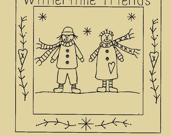 "Primitive Stitchery E-Pattern ""Wintertime Friends Candle Mat!"""