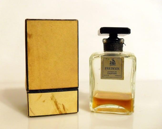 Vintage 1930s Pretexte by Lanvin 1 oz Parfum Extrait Perfume Bottle & Presentation Box