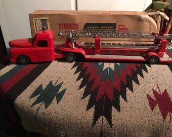 Vintage Structo S.F.D. Fire Truck With Original Box - All Metal Construction