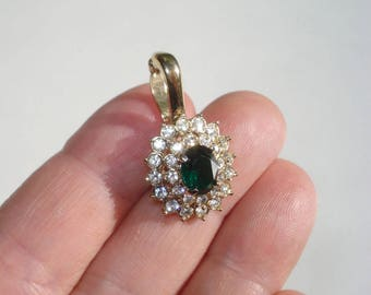 Vintage Clip on Pendant - Gold Green Crystal Drop Charm Jewellery - Removeable Pendant