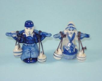 Vintage Blue and White Dutch Boy and Girl - Ceramic Figurines  Retro Decor