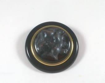 Vintage Round Marbled Black Brooch -  1980s Pin -  Retro Fashion Jewelry