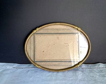 1940s Oval Metal Frame, with Glass - Vintage Oval Frame, Brass, Decorative