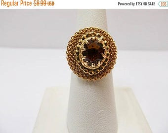 On Sale SARAH COVENTRY Golden Glass Stone Adjustable Ring Item K # 838