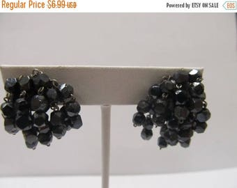 ON SALE Vintage Glass Beaded Cluster Earrings Item K # 2770