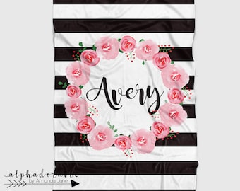 Personalized Floral Minky Baby Blanket in Black and White Stripes and Pink Flowers. It's so Buttery soft!