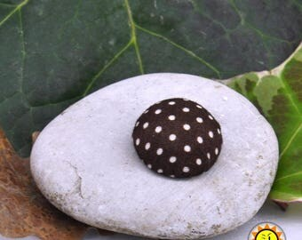 1 cabochon fabric dots brown craft 20mm round