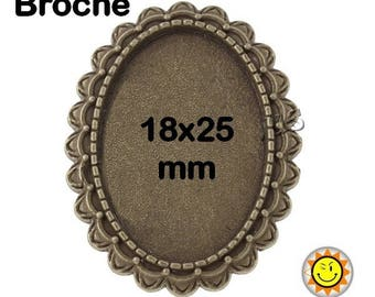 1 supports bronze fancy brooch cabochon 18x25mm