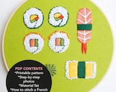 Sushi Roll Hoop Art- PDF Digital Download- Embroidery Pattern- DIY Embroidery- Stitching Pattern
